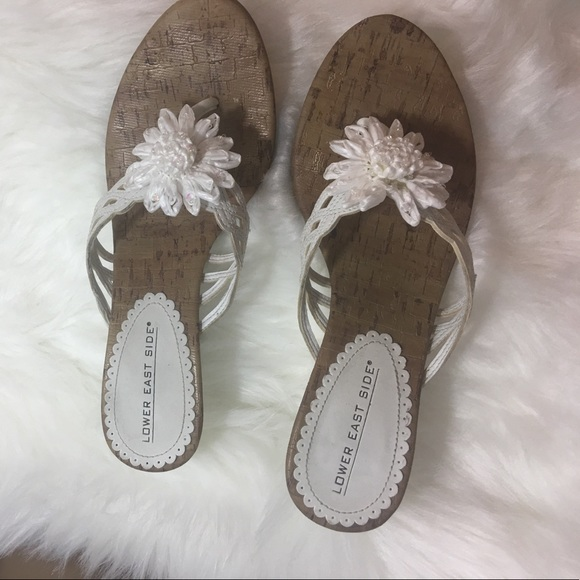 Lower East Side Shoes White Sandals With Flowers Poshmark