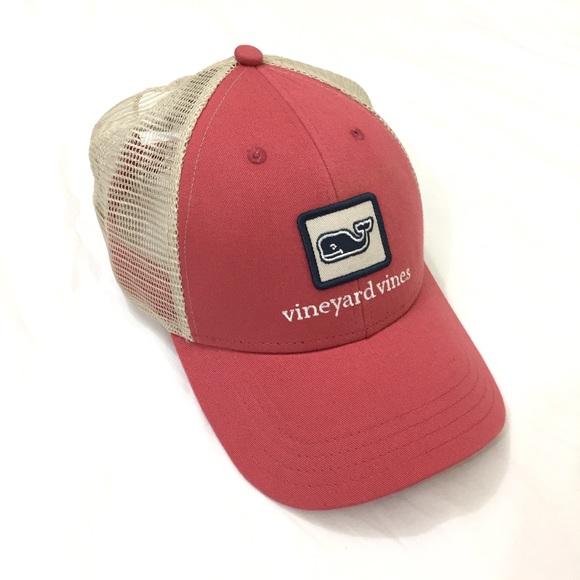 4fbc3340fd50a Vineyard Vines Trucker Hat Salmon Pink w  Whale. M 5972ce8d6d64bcd35401754b