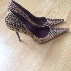 Purple and gold Michael Antonio Pointed Toe Heels