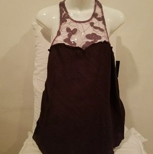 Free People Purple Embroidered  Flowy Tank S