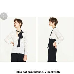 Zara polka dots top large nwt