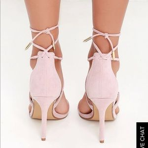 c6c29bfe463c02 Lulu s Shoes - LULUS ROMY DUSTY ROSE LACE-UP HEELS BLUSH 5.5