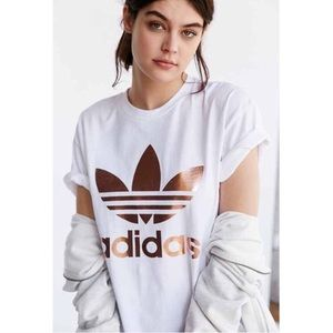 Adidas Rose Gold Double Logo Tee - Sold As Is