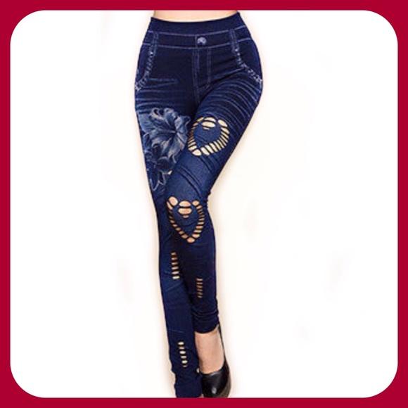 3cbcb0ab043bd1 Sanwood Jeans | Hollow Heart Cut Denim Leggings | Poshmark