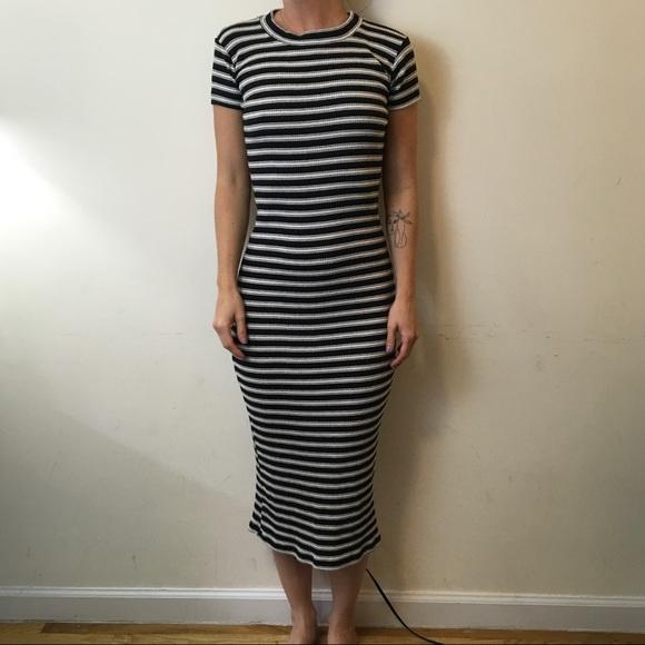 3baafbdcb0 Zara Black White Striped Ribbed Midi Dress