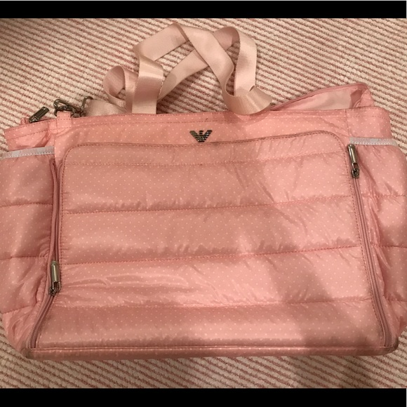 0ca0ec31ccc4 Armani Junior Handbags - Armani Padded Polka Dot Diaper Bag - Pink.