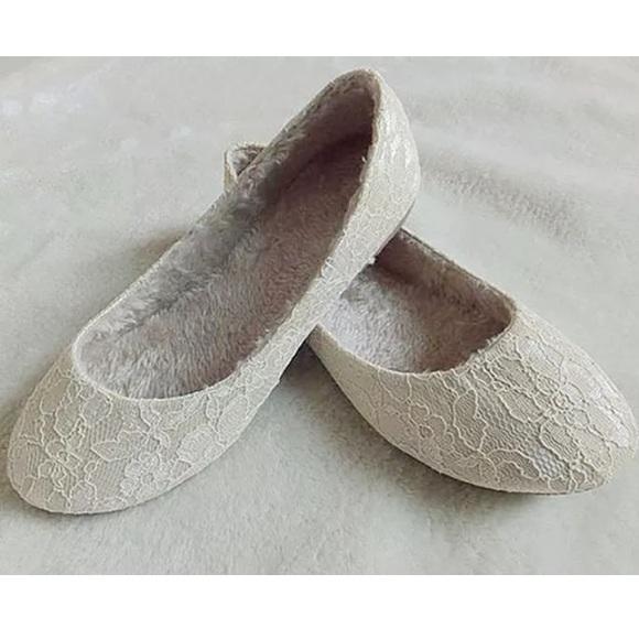 White Lace Flats Warm Fur Inside Shoe