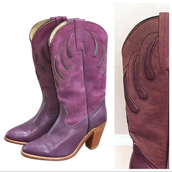 0ee13da9329 Frye Shoes - Vintage FRYE Purple Sugar Plum Heeled Cowboy Boots