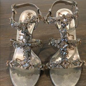 Sam Edelman gold jeweled heels