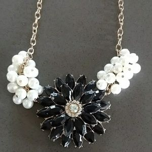 Black Jeweled with Pearl Statement Necklace