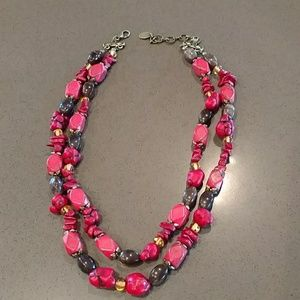 Dark coral and brown beaded necklace