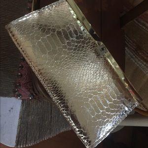 Vintage Gold Snakeskin Embossed Clutch Wallet