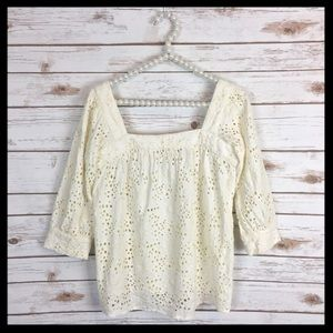 milly // eyelet lace square neck peasant top