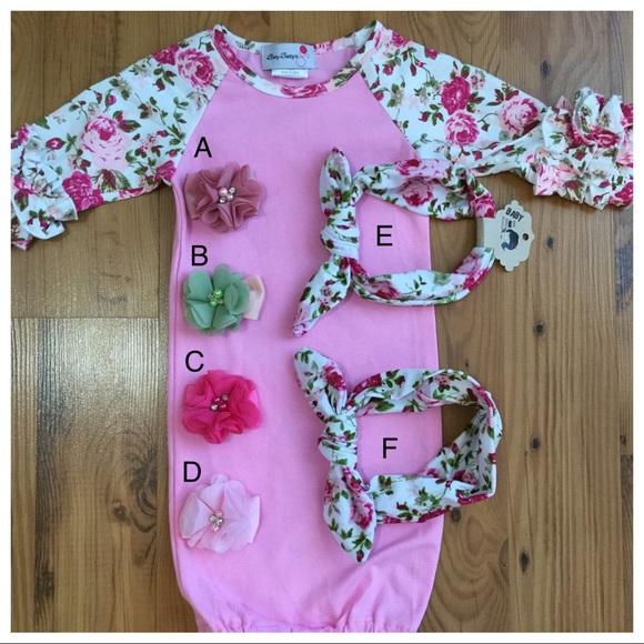 Baby Girl Sleeper Gown With Hair Bow Or Headband | Poshmark