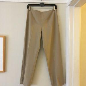 Tan flat front slim ankle pants wth side zipper