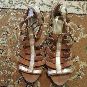 Avon Brown & Gold suede Gladiator sandals