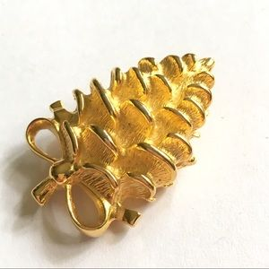 PAQUETTE Goldtone Pinecone Brooch
