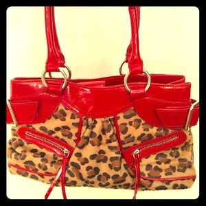 Leopard print and faux leather purse