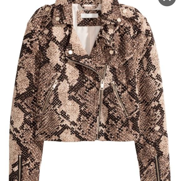 34c820078829 H&M Jackets & Coats | Hm Snake Print Moto Jacket | Poshmark