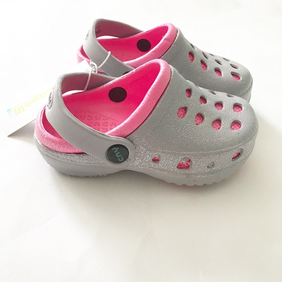 Nwt Capelli Kids Silver Pink Clogs Slip