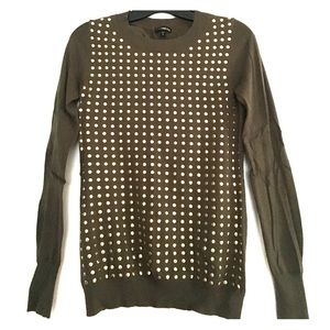 Military Green crew neck sweater with gold studs