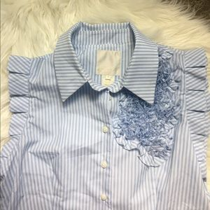 striped mcginn anthropologie button down blouse