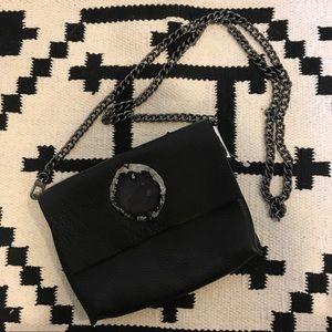 NWT Evoke black leather and agate clutch crossbody