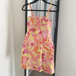 Lilly Pulitzer Yellow Orange Parrot/Orchid Dress