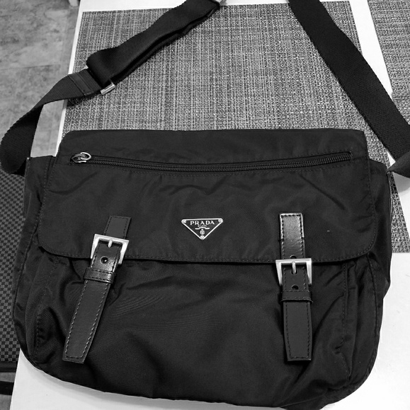 f122af70 Vintage Prada Black Nylon Crossbody Unisex Bag