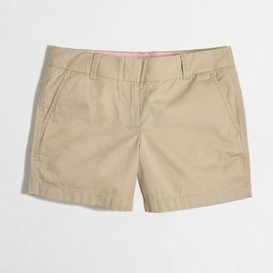 "khaki j. crew 5"" chino shorts size 10"