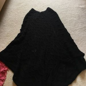 Francesca's collections long black fringe poncho