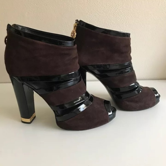 39185eb79 TORY BURCH Sz9 Brown Suede Lucille Peep Toe Bootie.  M 59738a6f2599fe542900f1b4