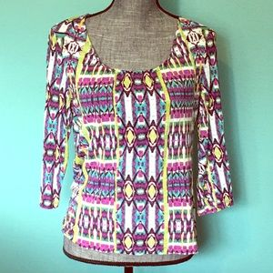 Chico's 3/4 Sleeve IKAT Stretch 1 Blouse 8 Small