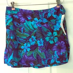 New Swim Skirt Coverup Upstream Large Floral Blue