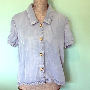 Coldwater Creek Chambray Top Button Up Shirt PM