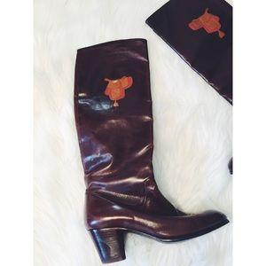 Vtg 70s Gucci Equestrian Saddle Knee Heel Boots 6