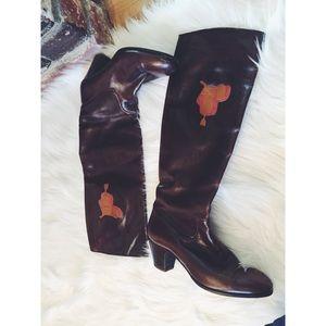 Vintage Gucci Equestrian Saddle Heel Boots 6