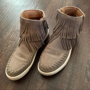 fringed hi-top sneakers