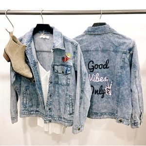Jackets & Blazers - Good Vibes Only Acid Wash Patchwork Denim Jacket