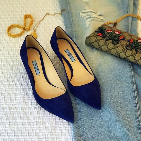 e26e6ad4b Prada blue suede pointed-toe kitten heel pumps. M_597399baa88e7da3f20142e0