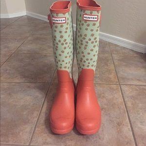 Hunter Tall Festive Flora Rain Boot Wellie sz 7