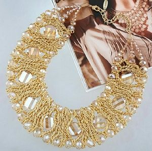 Gold Champagne Crystal Beaded Chain Necklace