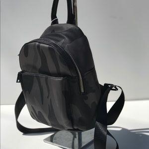 Handbags - Vegan Leather Black/Gray Camouflage Mini Backpack