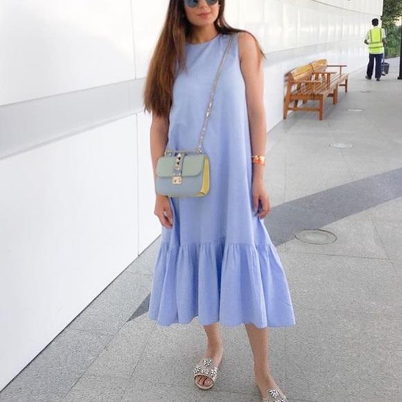 e0643ce78800 Zara midi maxi blue ruffle dress. M 5973a2164e95a3b7b3016d6b