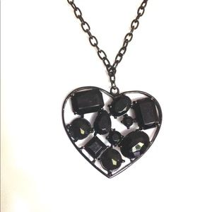 Heart Pendant Black Chain Faceted Heart