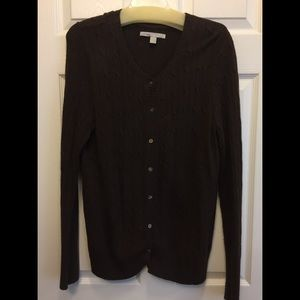 Old Navy Brown Cable Knit Sweater Cardigan