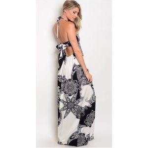 Black & White Printed Maxi Halter Dress