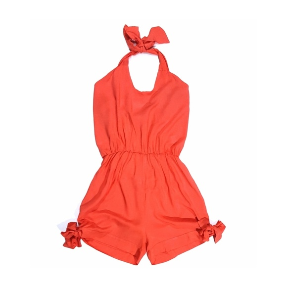7c12a8b94714 Bright Coral Strapless Halter Romper With Bows