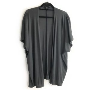 Short Sleeve Cardigan - SUPER SOFT & DARK GRAY CLR