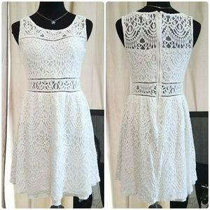 Host Pick ☆ White Crochet Lace Eyelet midi dress